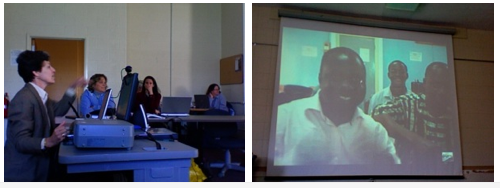 Dr. Sandra Turner speaks via Skype to MEd students in Winneba, Ghana.