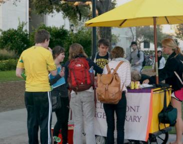 students at library cart