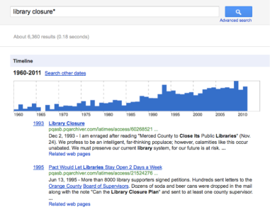 library closure google timeline results