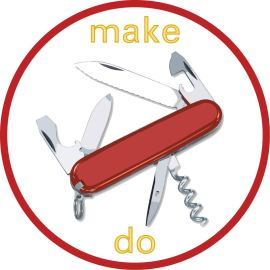 make do badge featuring swiss army knife by char booth.