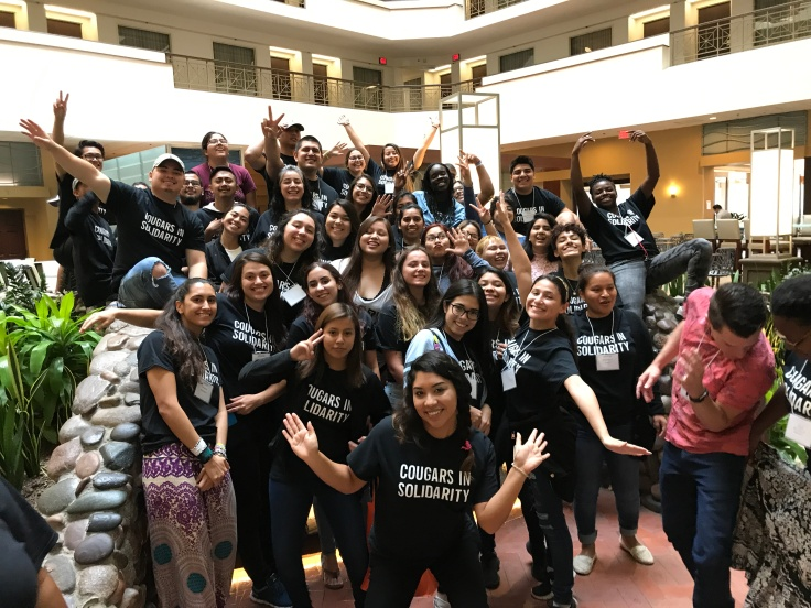 group of CSUSM students posing at the social justice summit
