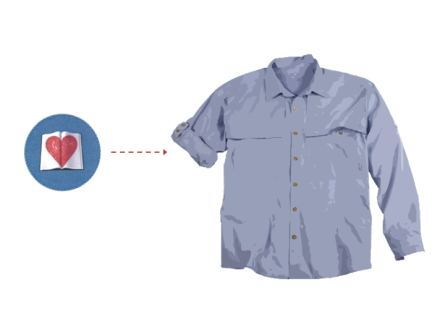 slide of a heart pointing to a shirt with one sleeve rolled up