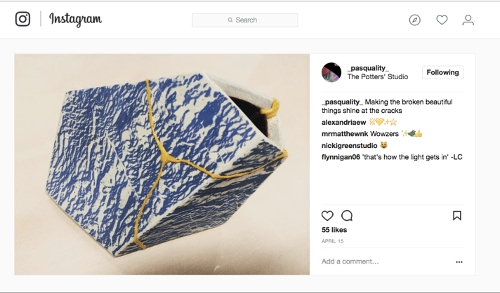 screenshot from instagram showing an angular ceramic vessel with gold cracks