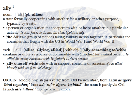 screenshot of the dictionary entry and definition of the word 'ally' superimposed over the image of the ceramics vessel