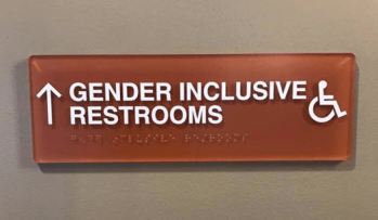 image of gender inclusive restroom sign, also includes disabled access icon and arrow