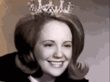 image of char's smiling mom with a beehive wearing a tiara. it's an amazing picture.