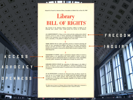 slide showing the library bill of rights with the words access advocacy openness freedom and inquiry with arrows pointing at the bill of rights