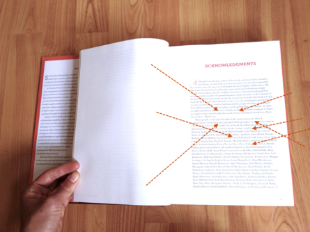 image of book with arrows pointed toward credits